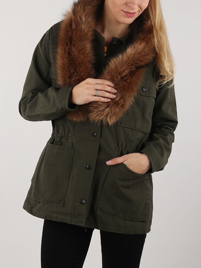 Bunda Lee Fur Trimmed Jacket Dark Military Zelená