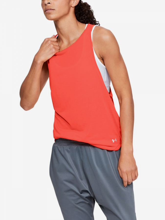 Tričko Under Armour Whisperlight Mesh Tank-Org Červená