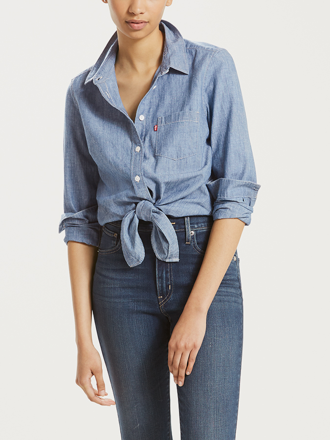 Košile LEVI'S Liza Tie Shirt Medium Light Wash Modrá
