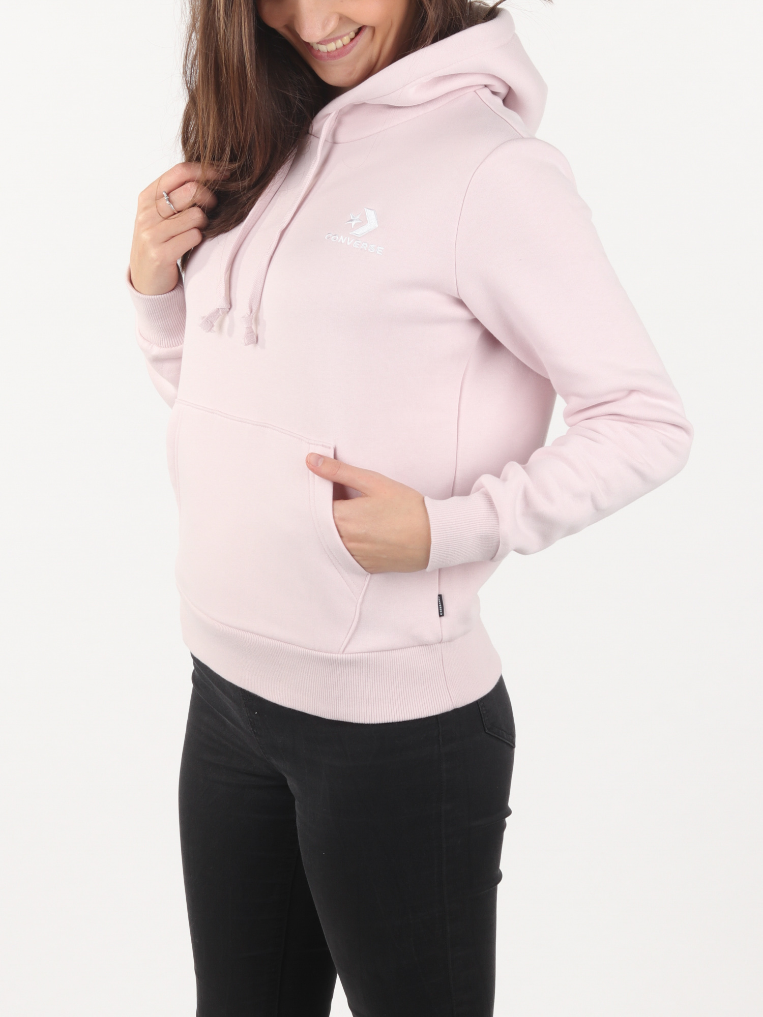 Mikina Converse EMBROIDERED FLEECE PULLOVER HOODIE Růžová