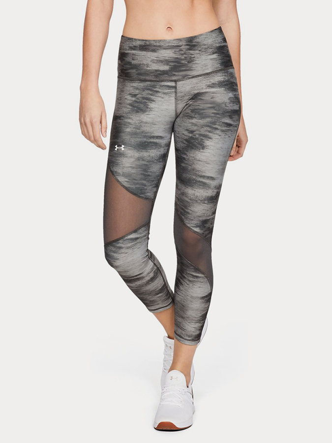 Kompresní legíny Under Armour Hg Ankle Crop Print Šedá