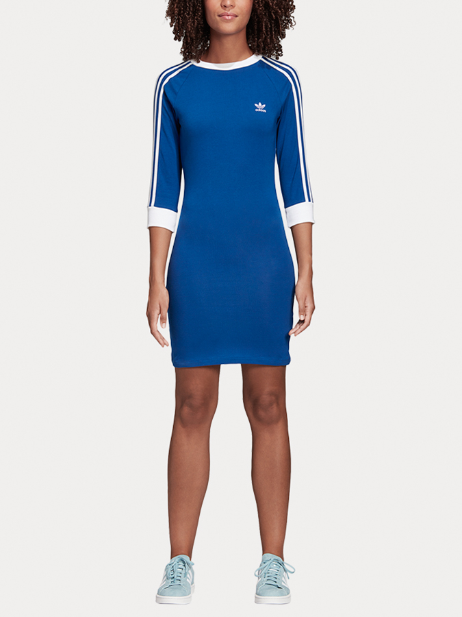 Šaty adidas Originals 3 Stripes Dress Modrá