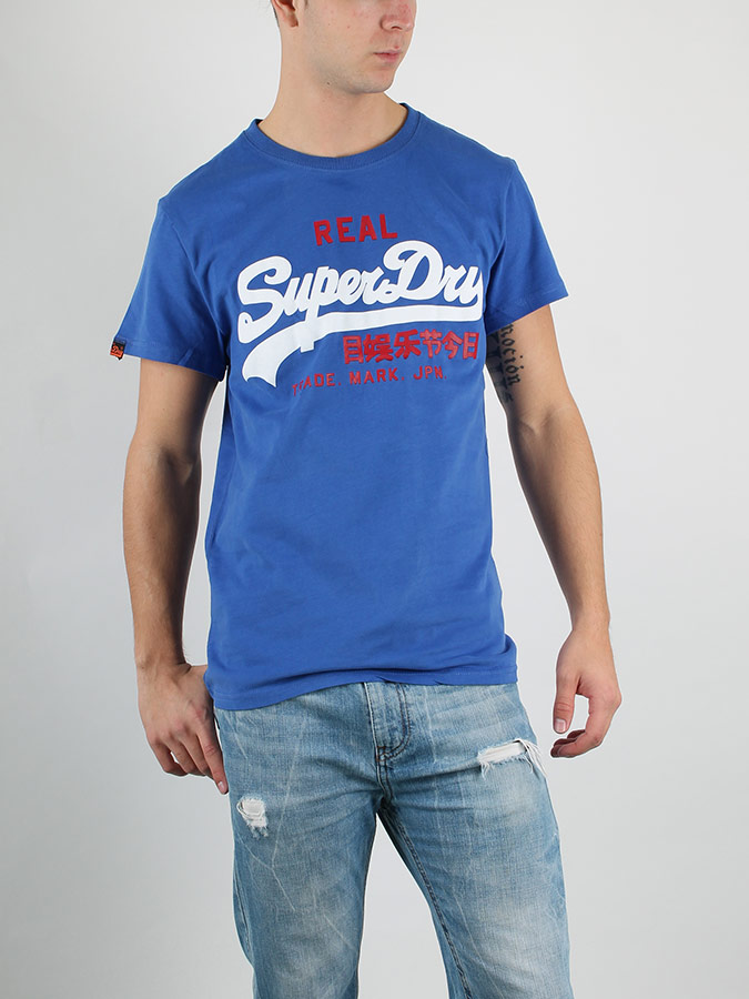 Tričko Superdry BIG REAL Modrá