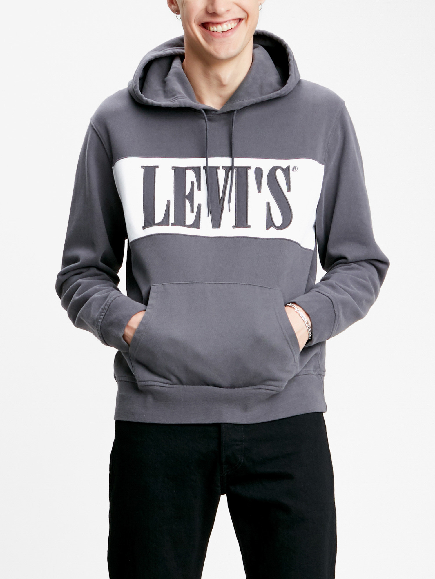 Mikina LEVI'S Pieced Pullover Hoodie Pieced Pullover Šedá