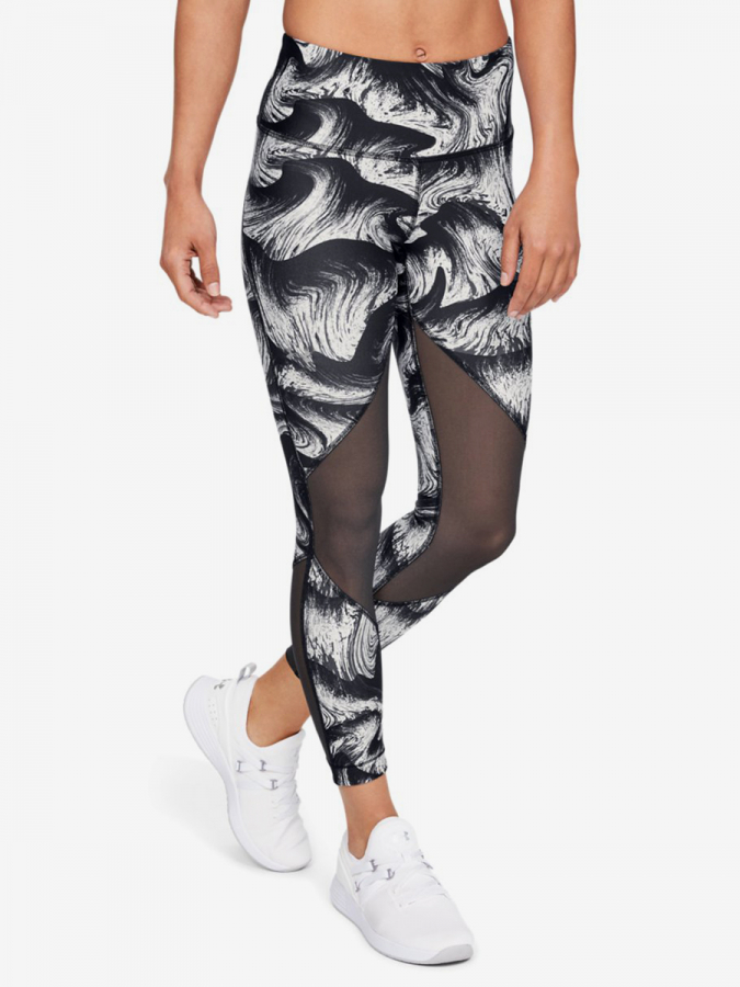 Kompresní legíny Under Armour Hg Mesh Ankle Crop - Print-Blk Barevná