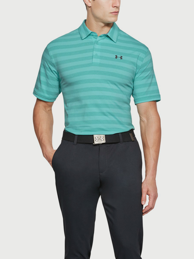 Tričko Under Armour Cc Scramble Stripe Polo Zelená