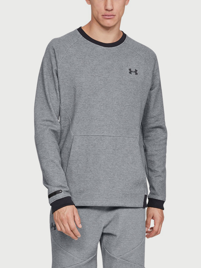Mikina Under Armour Unstoppable 2X Knit Crew Šedá