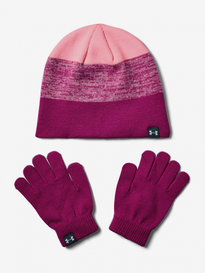 Čepice a rukavice Under Armour Girls Beanie Glove Combo-Pnk Růžová