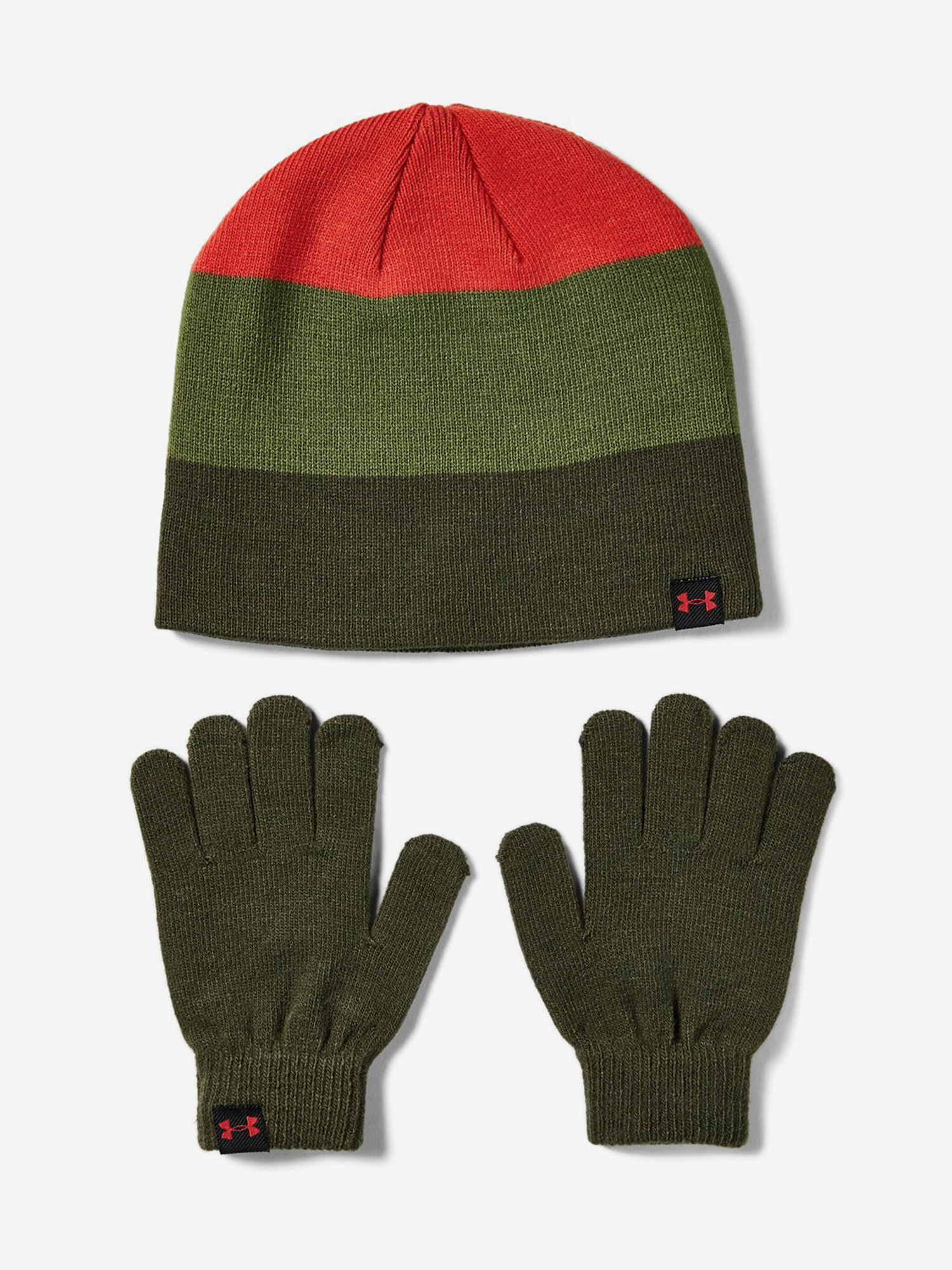 Čepice a rukavice Under Armour Boys Beanie Glove Combo-Grn Barevná