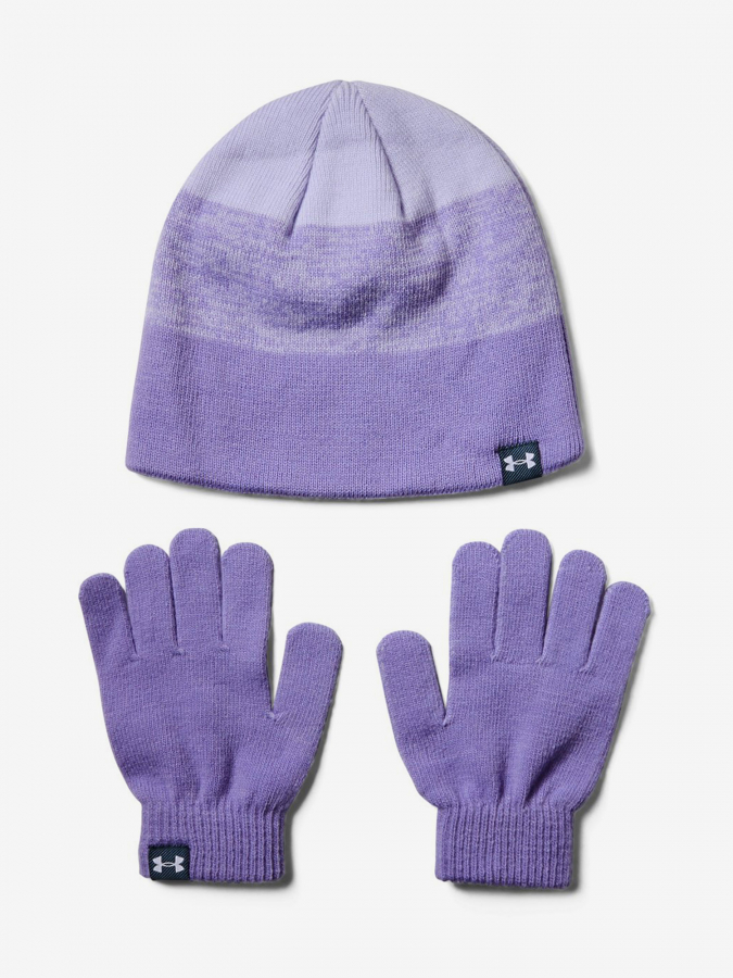 Čepice a rukavice Under Armour Girls Beanie Glove Combo-Ppl Fialová