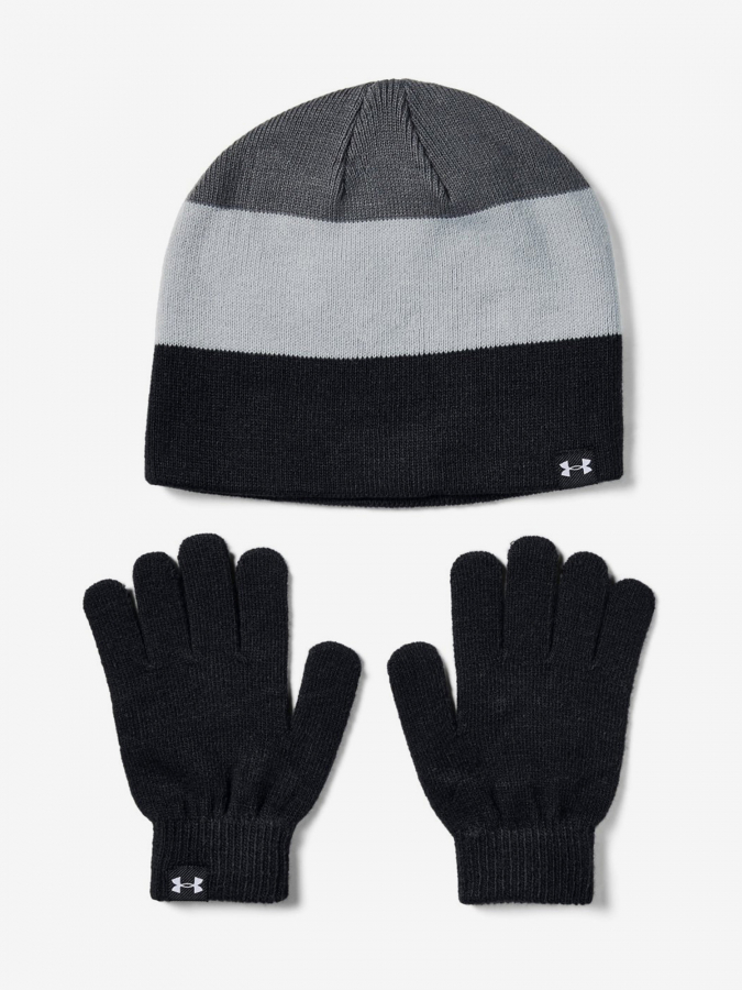 Čepice a rukavice Under Armour Boys Beanie Glove Combo-Blk Barevná