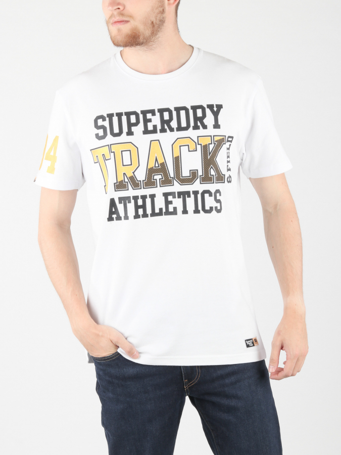 Tričko Superdry Super Track Metallic Box Fit T Bílá
