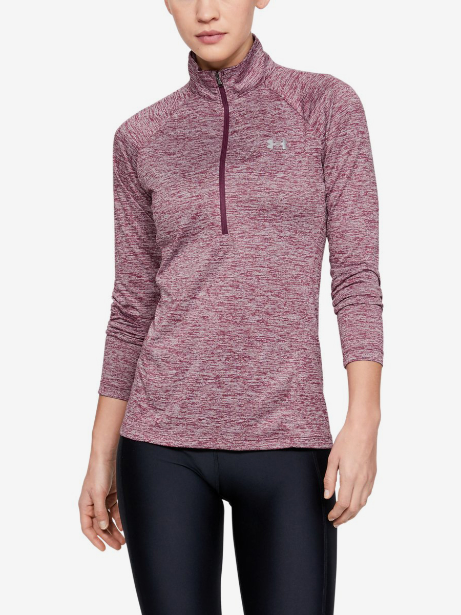 Tričko Under Armour Tech 1/2 Zip - Twist-Ppl Růžová