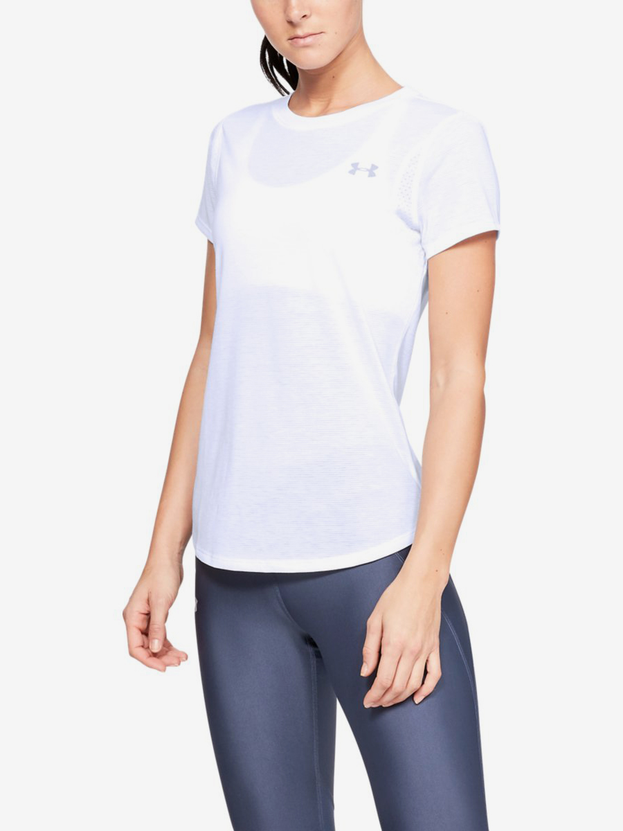 Tričko Under Armour Streaker 2.0 Short Sleeve-Wht Bílá