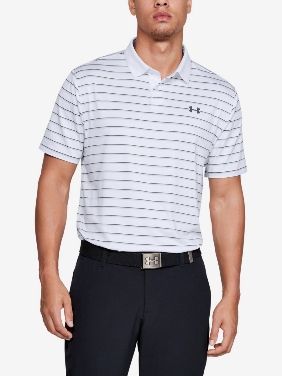Tričko Under Armour Performance Polo 2.0 Divot Stripe-Wht Bílá