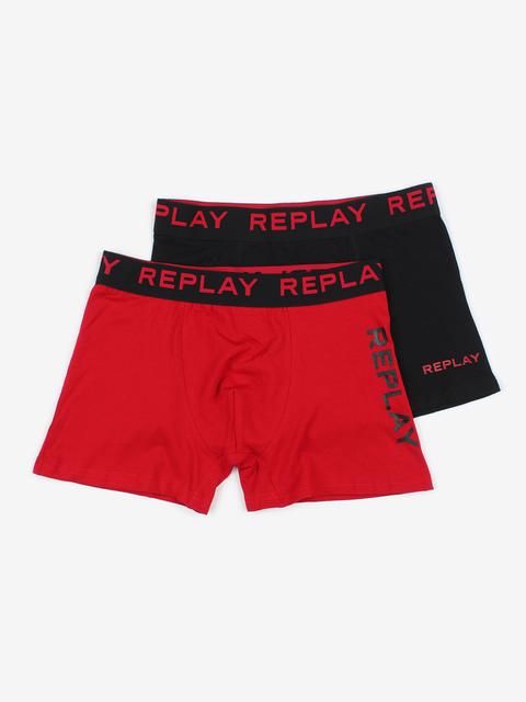 Boxerky Replay Boxer Style 06/F Leg Logo Orizontal + Leg Logo Vertical 2Pcs Box