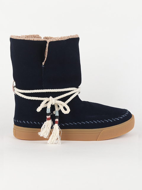 Boty Toms Navy WR Suede/Faux Shearling