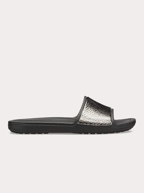 Pantofle Crocs Sloane MetalText Slide W Gunmetal/Black