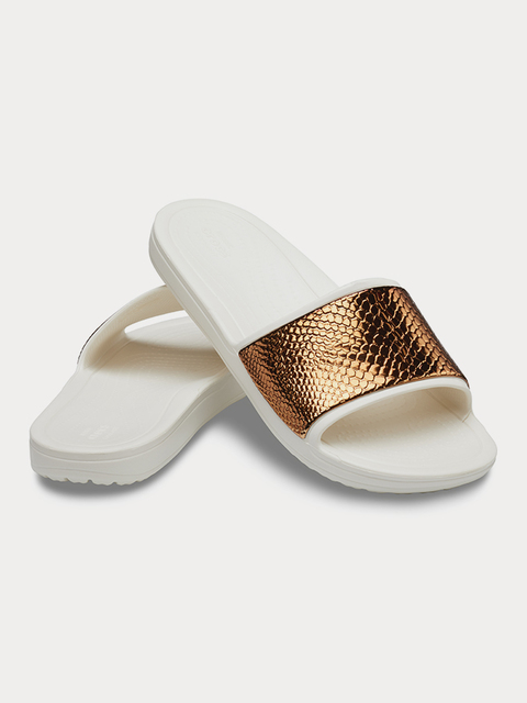 Pantofle Crocs Sloane MetalText Slide W Bronze/Oyster