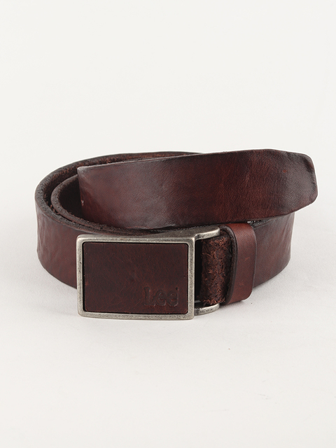 Pásek Lee Square Buckle Belt Dark Brown